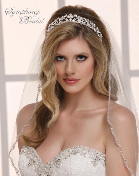 Dazzling Crystal Wedding Tiara Symphony Bridal 7823CR - Affordable Elegance Bridal -