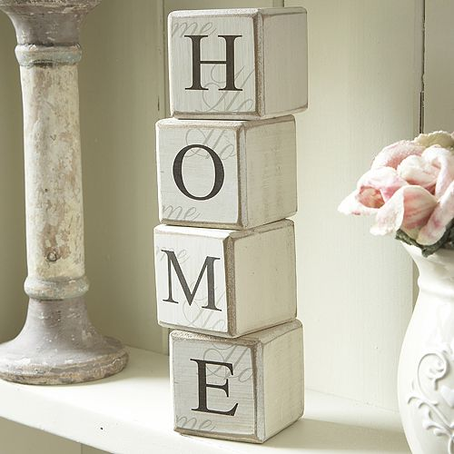 Paint wooden blocks with words such as Home and Love and Craft or Create