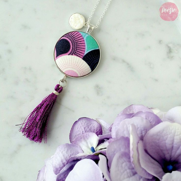PASTEL POP WATERFALL TASSEL NECKLACE • Handmade Original Design Fabric Button Jewellery • Available from www.poesiehandmade.com
