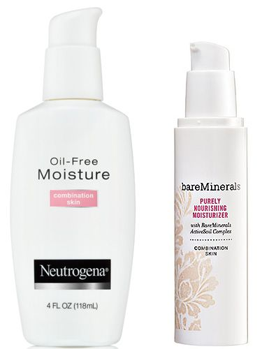 Neutrogena Oil-Free Moisture—Combination Skin ($8.99, target.com). Specifically formulated for combination skin, it moisturizes where you need it and absorbs oil where you don't. Bare Minerals Purely Nourishing Moisturizer—Combination Skin ($28, sephora.com). It's super lightweight and balances out your combo skin to create an even, super-soft texture.