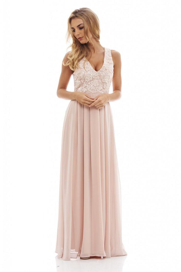 Women's Nude Lace Top Maxi Dress - AX Paris USA-Fashion Dresses, Black Dresses, Evening Dresses and Party Dresses