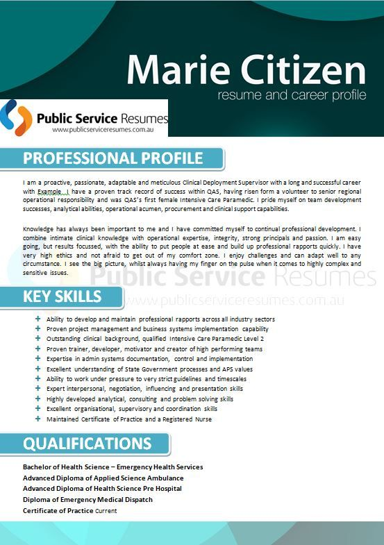 A strong nursing resume for the Public Sector will be more than just a statement of your work history. A well-written resume should highlight to an employer the relevant experience and skills that you will bring to their organisation.
