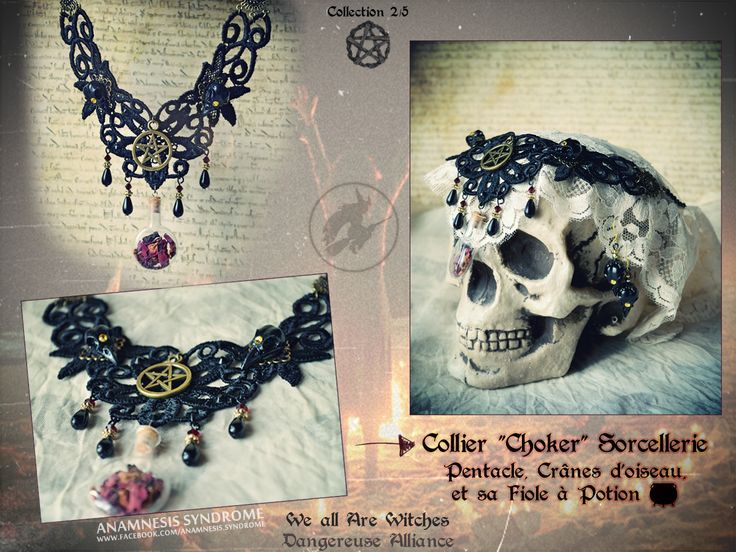 Witchcraft necklace - guipure, black bird skulls, pentacle, potion. By Anamnesis Syndrome.