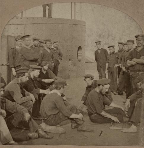 Crewmen on deck of USS Monitor, summer 1862