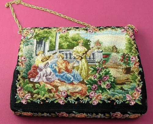 Figural Petit Point evening purse