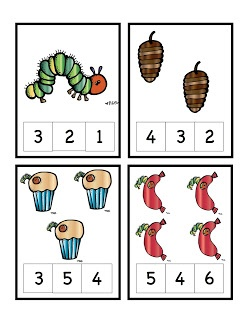 The Very Hungry Caterpillar Number Cards 1-12 Clothespin Activity