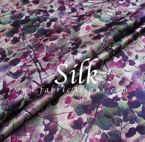 Purple Leaf Fabric. Purple Printed Silk. Purple by fabricAsians
