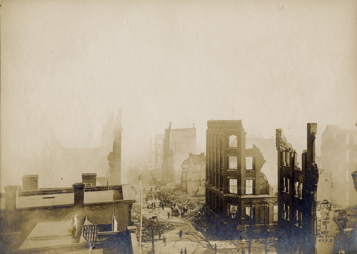 Aftermath of the Great Toronto Fire (April 19, 1904): Bay St., looking south from the north side of Wellington St. West.