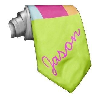 Bright Green Pink Neon Stripes Fashion Monogram Custom Tie