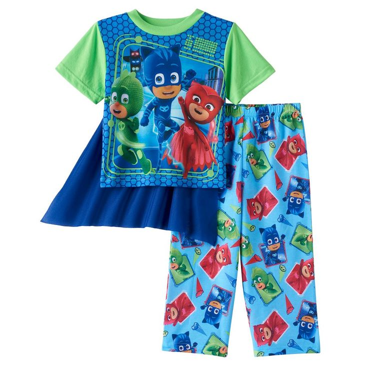 Toddler Boy PJ Masks Owlette, Gekko & Catboy Top with Cape & Pants Pajama Set, Size: 2T, Multicolor