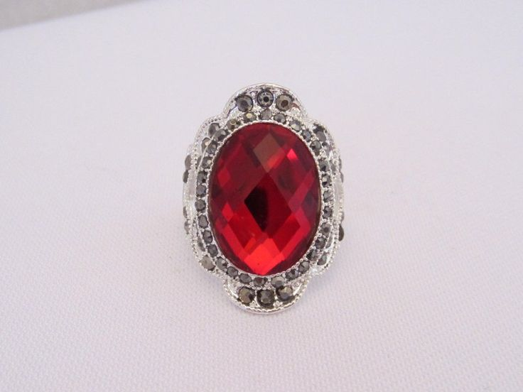 Vintage Jewelry Silver-Tone Red Rhinestone & Marcasite Ring Size 6.75 by wandajewelry2013 on Etsy https://www.etsy.com/listing/203863185/vintage-jewelry-silver-tone-red