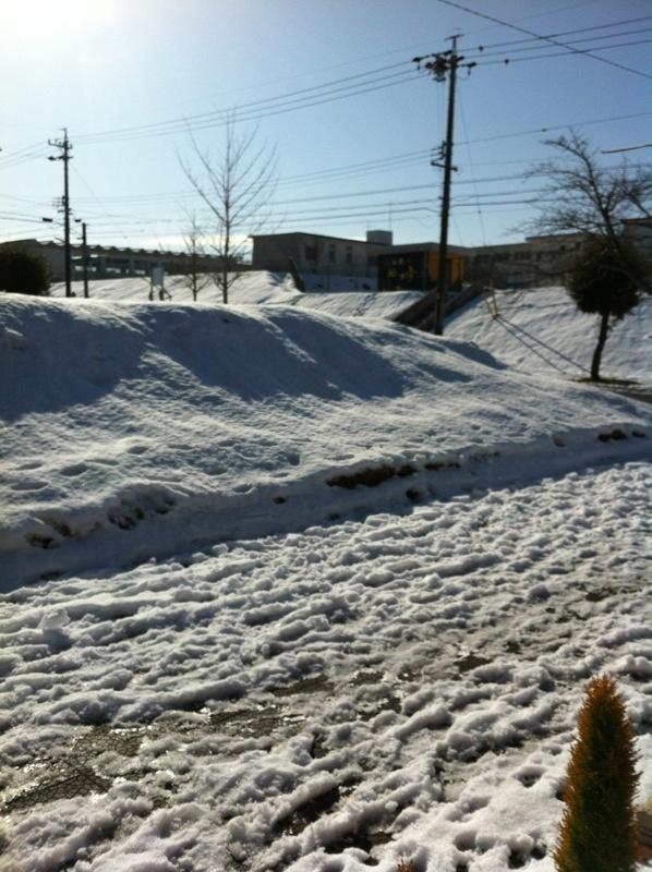 ぎょえーーー!さて、そろそろ帰るかーと実家の玄関を開けたら、おとといの雪がこんなに残っててびっくりした!!!!