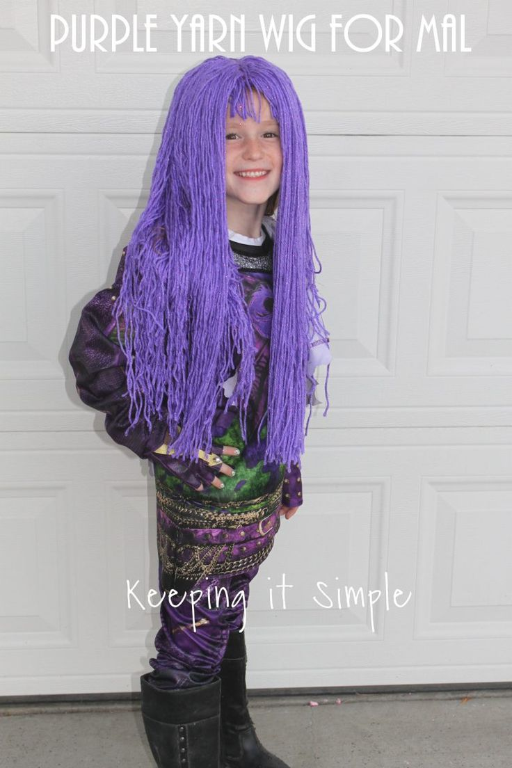 1241 best coolest diy costumes images on pinterest diy diy purple yarn wig for mal from descendants 2 costume solutioingenieria Images