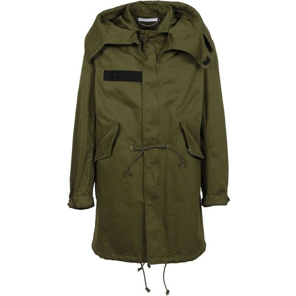 : Olive Green Wings Print Parka ($1,556) ❤ liked on Polyvore featuring men's fashion, men's clothing, men's outerwear, men's coats, olive green, mens parka coats and mens hooded coats