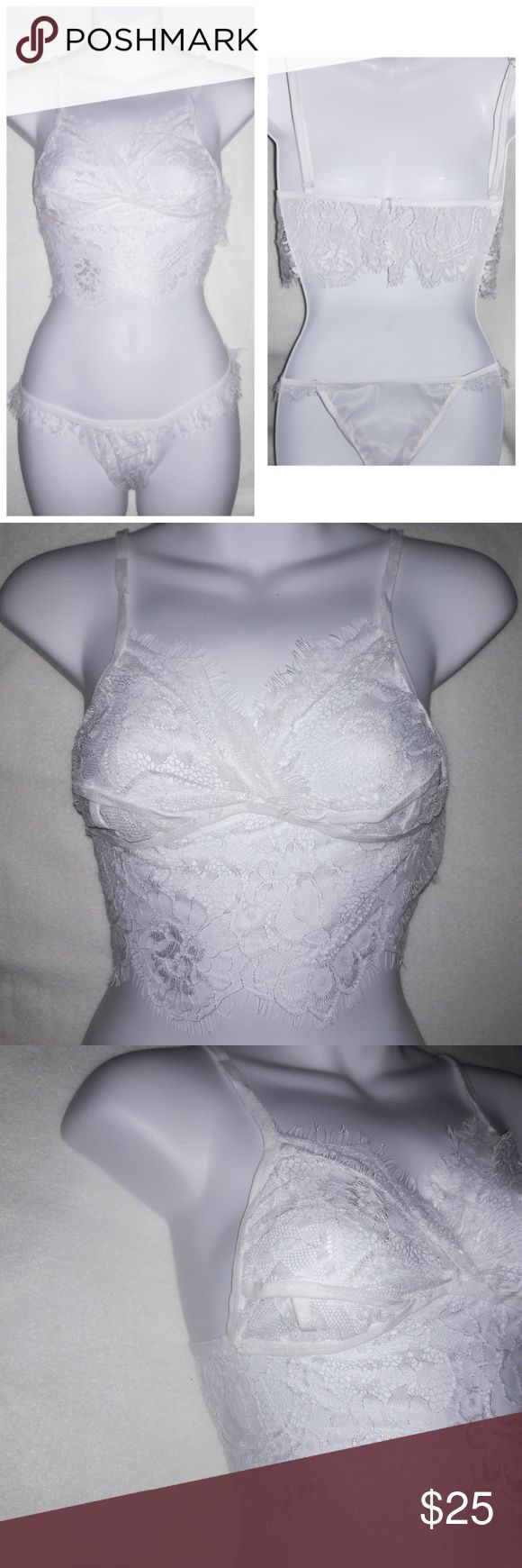 Sheer Floral Eyelash Lace Bralette & Panty Set Absolutely stunning! Sheer, stretchy, and soft lace make up this pretty set. The wire free top has adjustable straps and a slide hook clasp at the back. The stretchy matching panty has eyelash lace trim and mesh back.True to size however I recommend a C cup maximum. Hand wash lay flat to dry. Intimates & Sleepwear Bandeaus