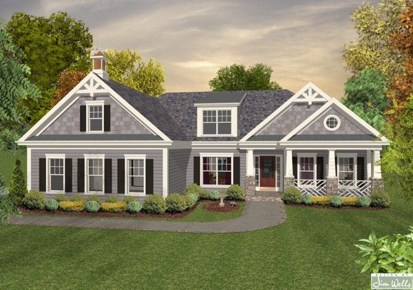Grey Siding With White Trim Houses Home Plans Ranch