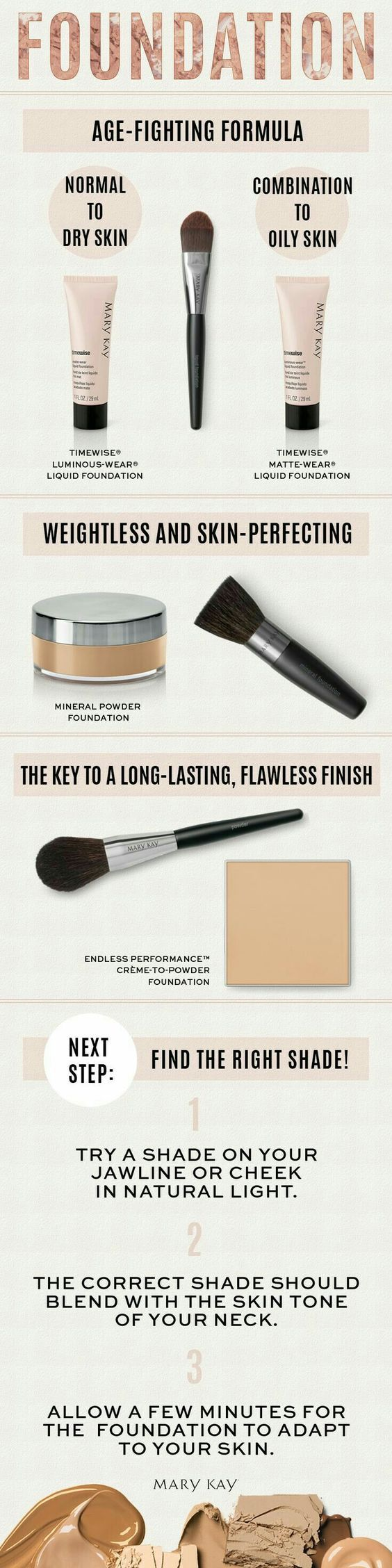 A perfect look starts with a solid base...let's find the perfect foundation for you! Contact me today or shop online now at: marykay.com/island