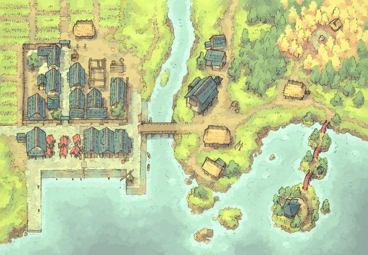 town map coastal fantasy maps rpg village battle harbor dnd port beyond japanese forest fishing dragons pathfinder dungeons 2minutetabletop settlement