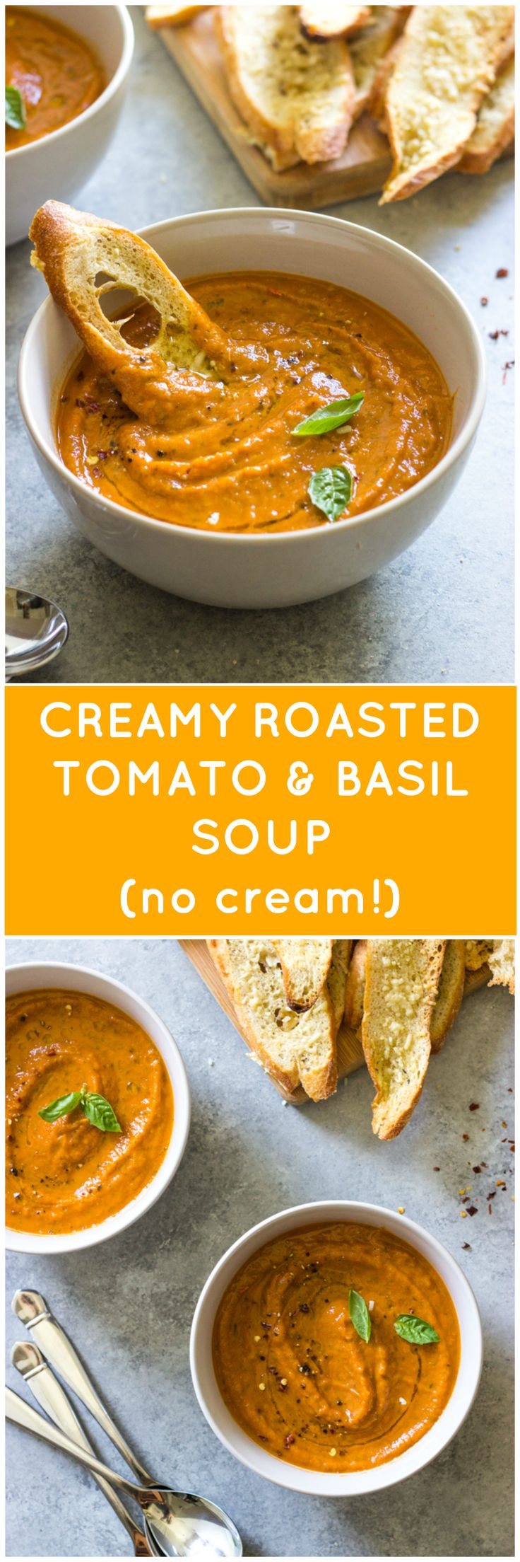 Creamy Roasted Tomato and Basil Soup - creamy tomato soup without any cream or cream alikes! So rich, buttery, yet light | littlebroken.com @littlebroken