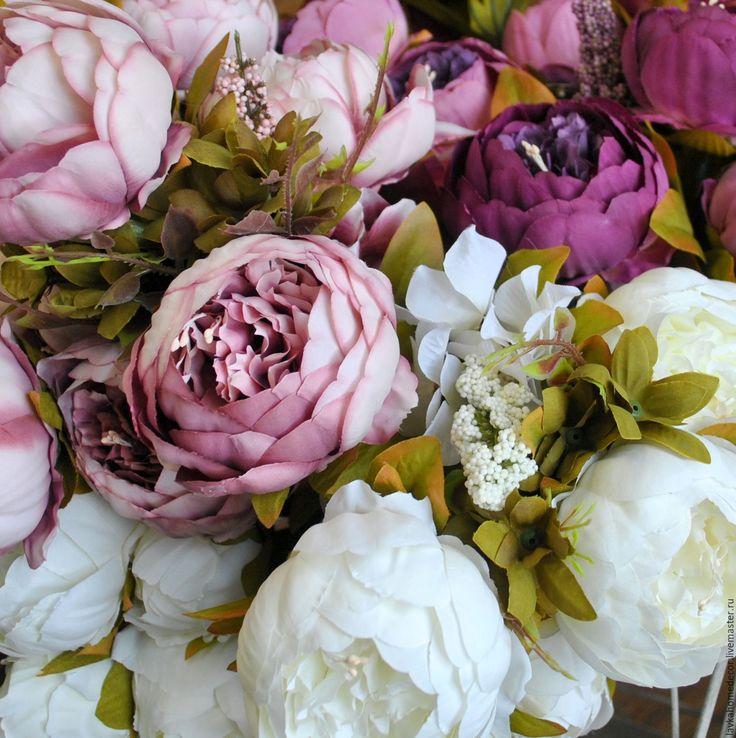 Купить Пионы букет фиолетовый, 1046 - пион, пионы, цветок, цветы, цветок пиона