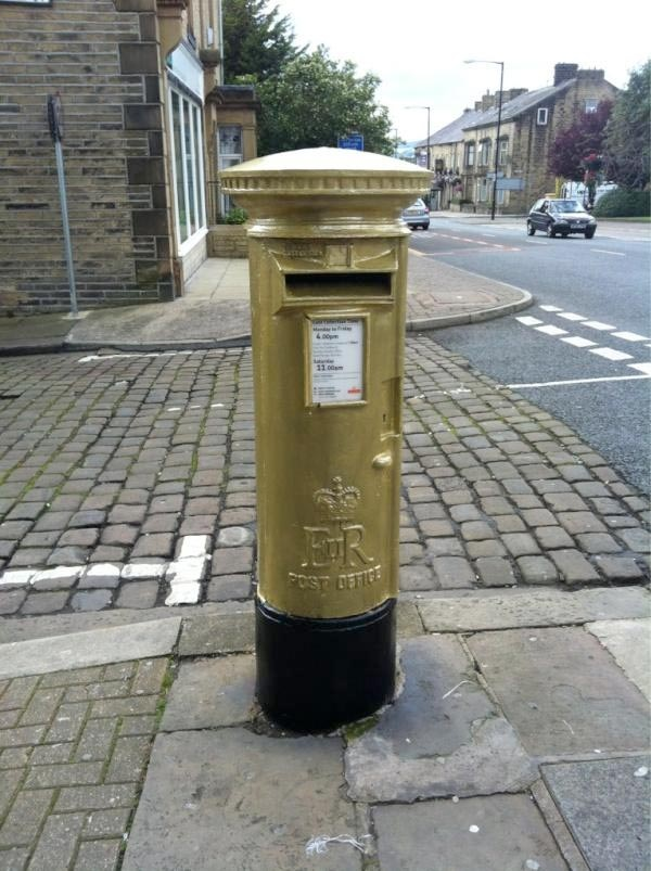 Colne, got its Gold Postbox! - Well done Steven Burke and the other members of the Team GB Mens Team Pursuit on winning GOLD at London 2012!!