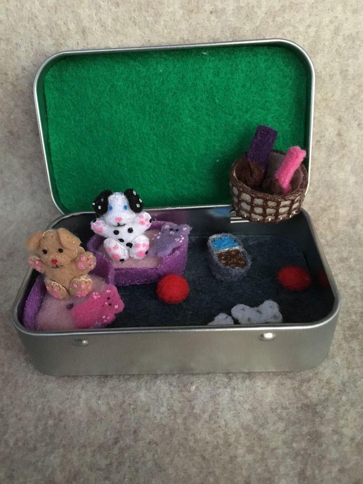 Itty Bitty Maties- Miniature felt dog in a tin play set by MatiesMeadow on Etsy https://www.etsy.com/listing/236523009/itty-bitty-maties-miniature-felt-dog-in