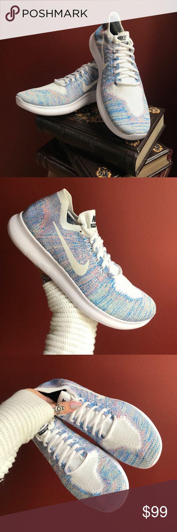 NWT Nike ID Free RN custom Brand new no box,price is firm!!custom made. The next generation of the coveted Nike Free is here. Now with a newly designed Auxetic tri-star outsole pattern and sock-like Flyknit upper, the Men's Nike Free RN Flyknit Running Sh