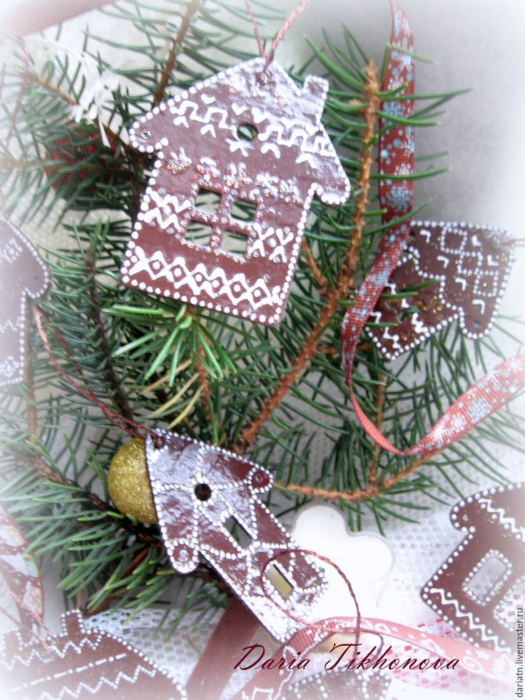 Купить Большая пряничная деревня - новый год 2016, домики декупаж, елочные украшения, украшения на елку