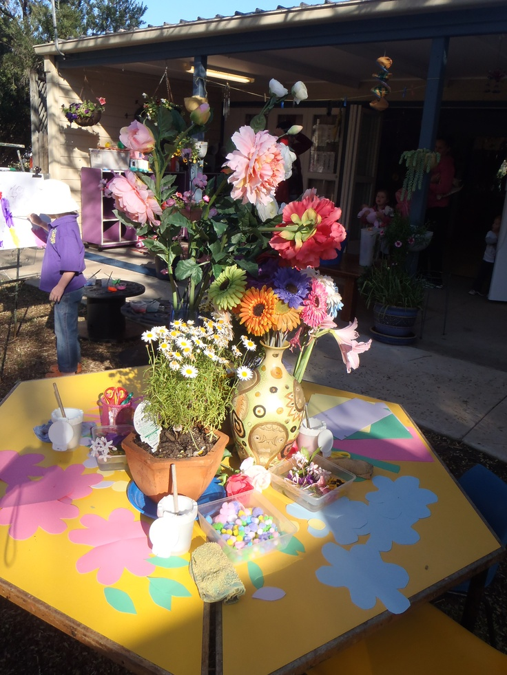 We placed out some lovely flowers donated by our families, our own kindy flowers onto the table outside. Beside this table we placed the Easels with the colours of the flowers and we placed out paper & pens and collage materials. Awesome creativity space....