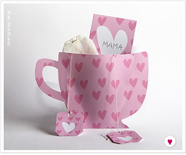 Free printable heart cup and tags