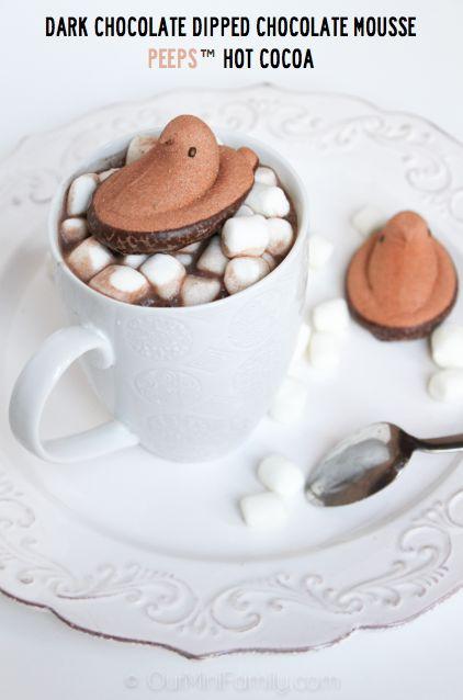 dark chocolate dipped chocolate mousse peeps™ hot cocoa #peeps