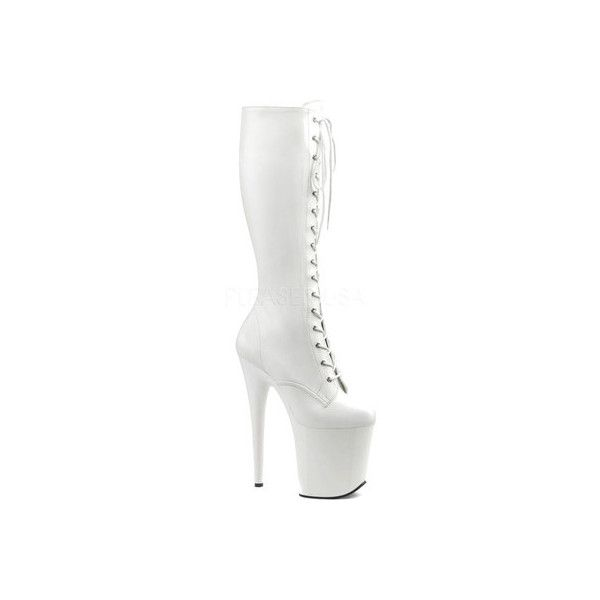 Women's Pleaser Flamingo 2023 Knee Boot ($92) ❤ liked on Polyvore featuring shoes, boots, patent leather knee-high boots, white knee high boots, high heel stilettos, knee length boots and white platform boots