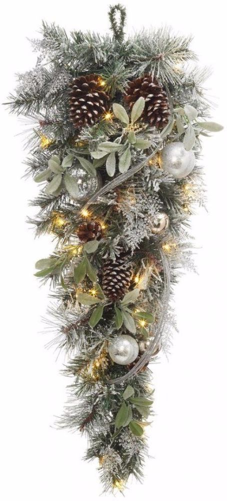 Battery Operated Snowy Silver Pine Artificial Teardrop with 36 Clear LED Lights #ChristmasWreath #Garlands #Wreath #Artificial #TearDrop #Silver #HangingDecor #LEDLights #Christmas #ChristmasDecor #Holiday #Seasonal #HomeDecor