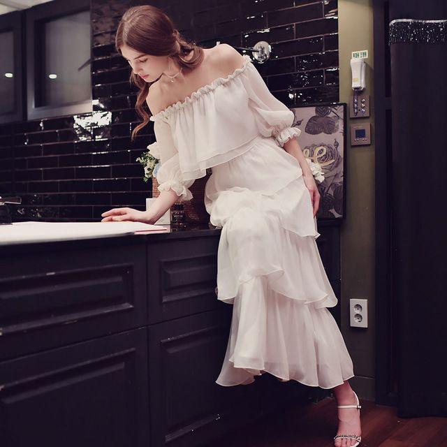 Dabuwawa две пьесы белый с плеча spring dress