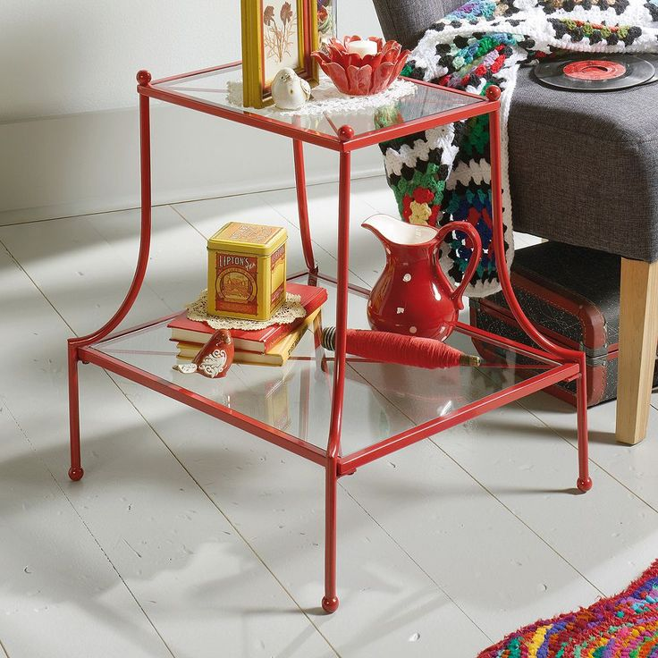Sauder Eden Rue Glass Top End Table, Red