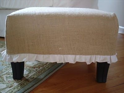 burlap and ruffles ottoman tutorial {I bet I could upcycle an old Ikea end table to make an ottoman in the school room...}