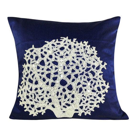 Cuscino blu mare corallo perline nautico cuscino copertura decorativa Coral Reef cuscini blu 16 14 x 14 x 16 18 x 18 20x20 24 x 24 26x26
