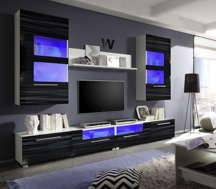 Wohnwand hängend modern schwarz  Die 25+ besten Wohnwand schwarz hochglanz Ideen auf Pinterest | Tv ...