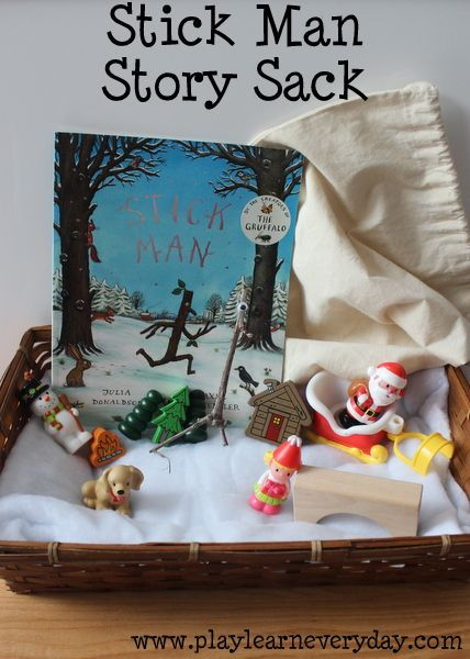 A fun story sack full of ideas for exploring Stick Man by Julia Donaldson.