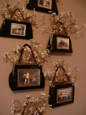 Vintage Handbags made into frames for your old family photo's ..... clever idea!