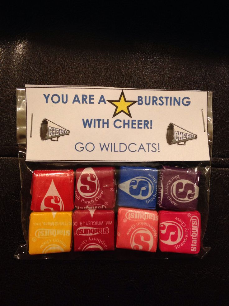 cute goodie bags for cheer that I made!