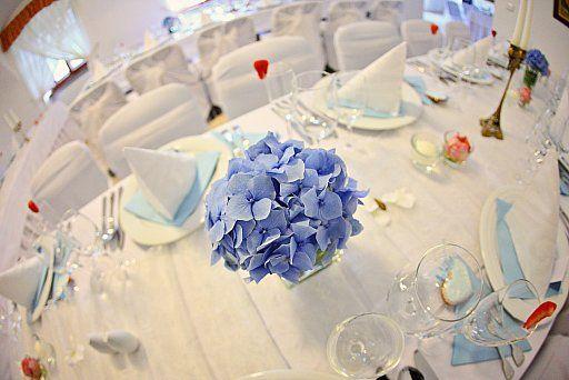 Ružovo-modrá svadobná výzdoba / Pink and blue wedding decoration