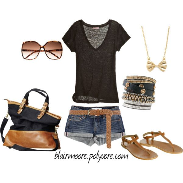 summer outfit: Casual Summer, Brown Summer, Women'S Summer Fashion, Stacking Bracelets, Cute Summer Outfits, Lazy Summer Day, Summer Clothing, Bags, Bows Necklaces