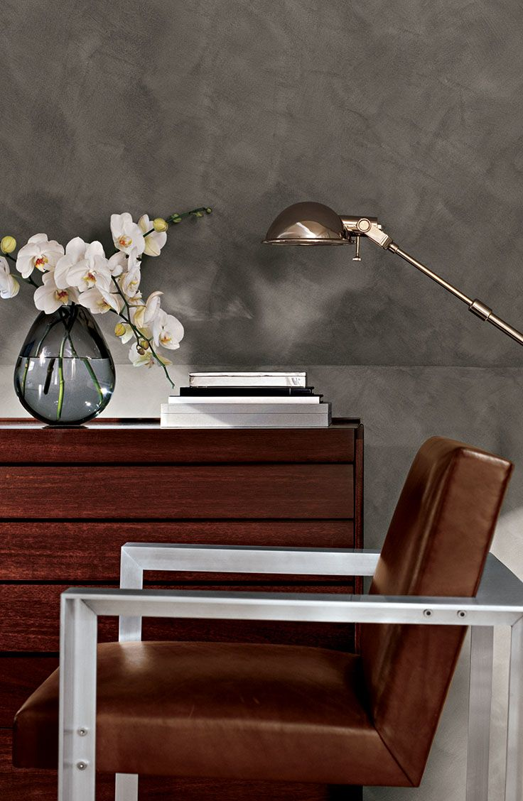 Our Ralph Lauren Paint Suede Specialty Finish, shown in a lush gray Desert Broom, creates a look that's ultra-rich and effortlessly luxe.