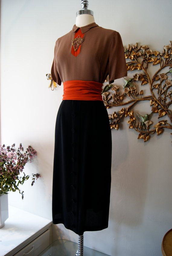 40s Dress // 1940s Dress // Vintage 1940s Brown by xtabayvintage, $198.00