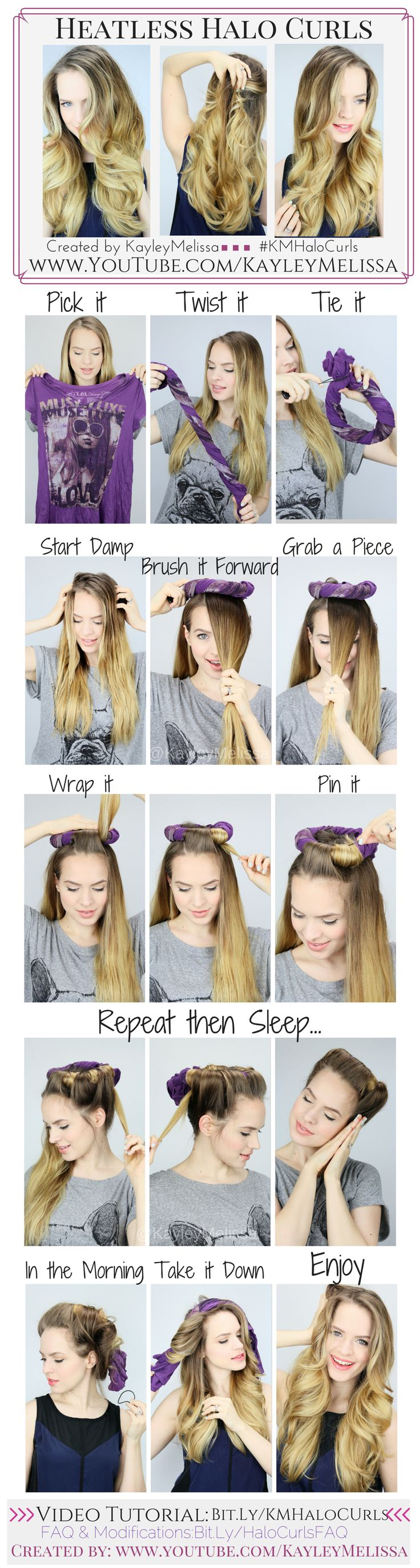 DIY HEATLESS CURLS :: Heatless Halo Curls by #kayleymelissa :: Large image here: http://static.wixstatic.com/media/8dbc18_8847f92c7be946488beb71bc8e052bb2.png :: Click to go to her blog for a YouTube video tutorial.