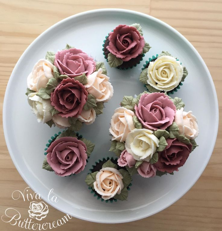 """""""Country Rose Cupcakes"""" - hand piped Buttercream Rose Cupcakes by Kerrie Wyer ❤️ 