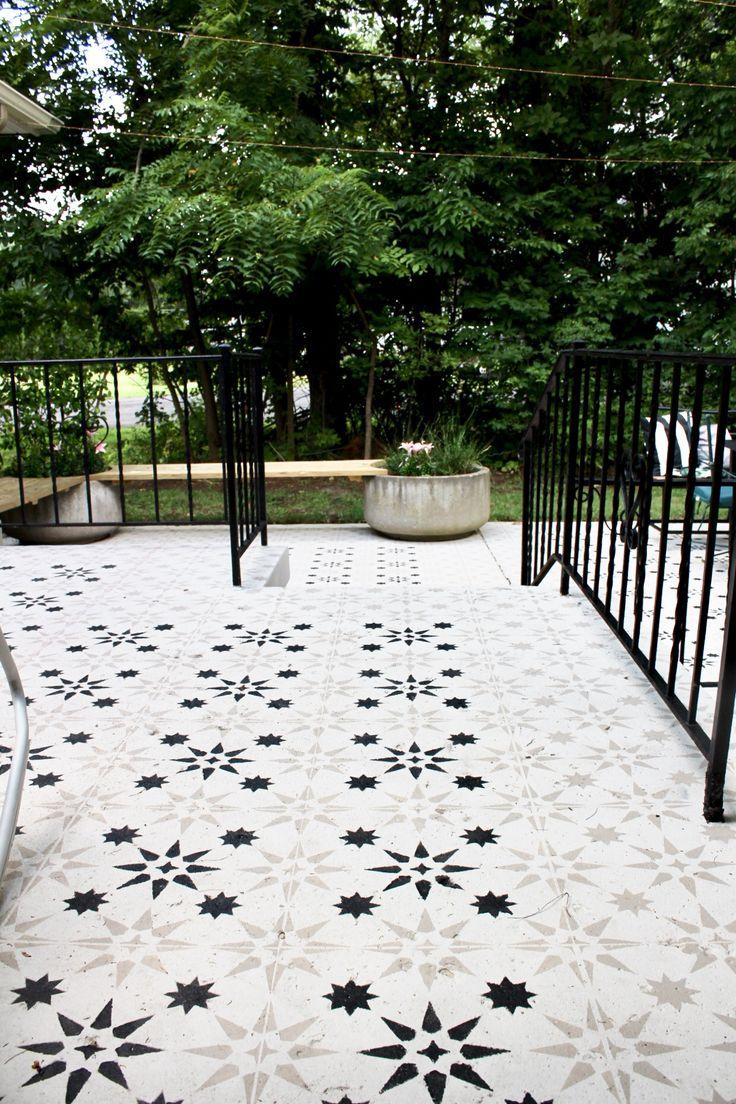 Diy Stenciled Concrete Patio Tutorial Diy Concrete Patio 400 x 300