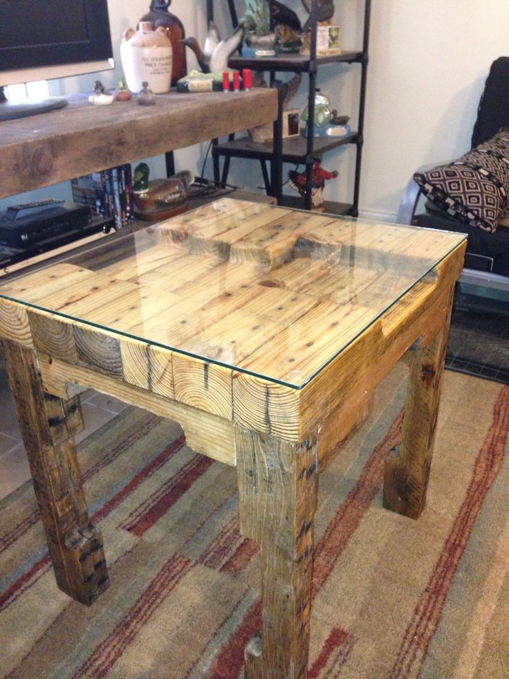 Pallet End Table Glass Top Wooden Pallet Table Pallet