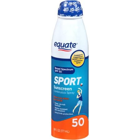 Equate Sport Continuous Spray Sunscreen, SPF 50 || Skin Deep® Cosmetics Database…